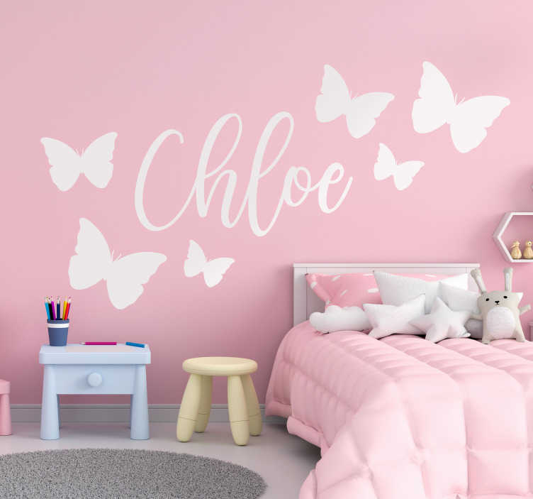 TenStickers. Butterflies flying with name butterfly wall sticker. Beautiful butterfly wall sticker with customisable name. Provide the name desired for the design. Available in different colours and sizes.