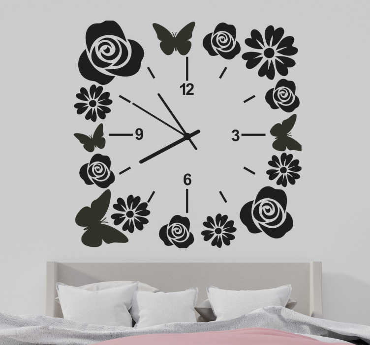 TenStickers. Clock with butterflies and flowers wall clock sticker. Decorative clock wall sticker with the design of flower and butterfly.  Available in different colors and sizes. Easy to apply.