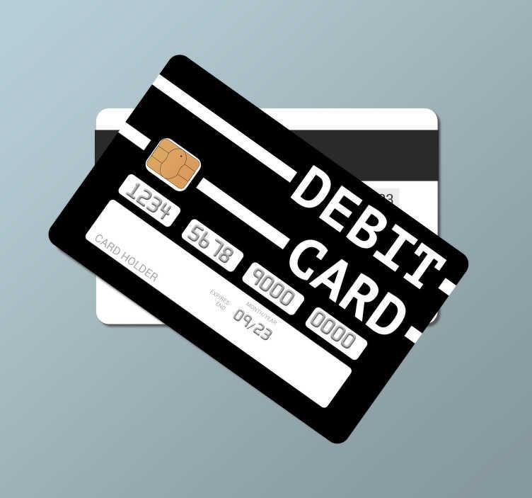 TenStickers. Debitkarte schwarzer Hintergrund Kreditkartenaufkleber. Schwarzer Hintergrund Bankkartenaufkleber, zum Dekorieren einer Debitkarte mit lesbarem Text. Leicht aufzutragen und selbstklebend.