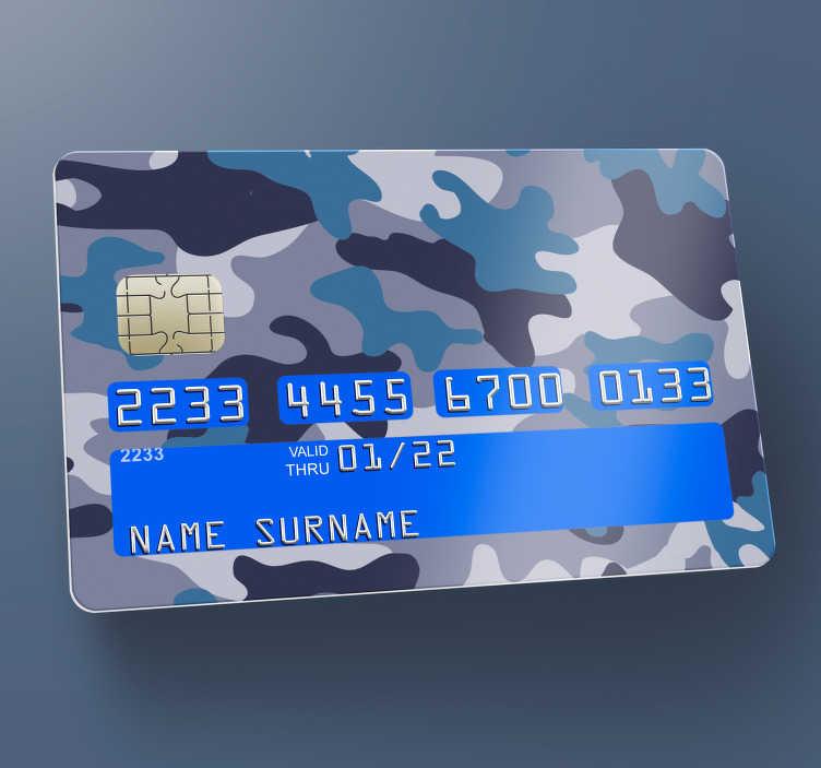 Tenstickers. Camo-sininen luottokorttitarra. Koristeellinen pankkikorttitarra, jossa sininen ja harmaa camo-armeijan malli. Nyt voit nauttia kauniista korttipinnasta omassa style. Easy soveltaa.