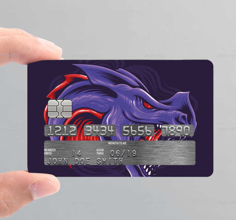TenStickers. Purple dragon credit card sticker. Decorative bank card sticker with a dragon design in colorful style. Flag the design you love on your card with our varieties of card sticker.