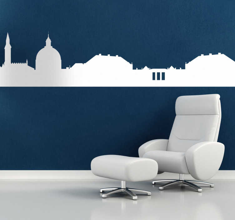 TenStickers. Naklejka panorama Kopenhaga. Naklejka na ścianę z profilem stolicy i największego miasta w Danii. Udekoruj Swój salon naszą naklejką, dzięki której poczujesz atmosferę Kopenhagi.