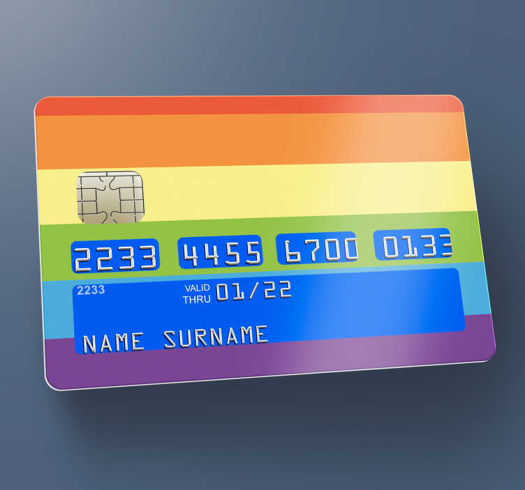 Tenstickers. Queer värikäs luottokorttitarra. Kuningatar värimalli tarrasuunnittelu pankkikortille. Koristele kortti mihin tahansa uskomattomaan tarralajikkeemme. Helppo levittää.