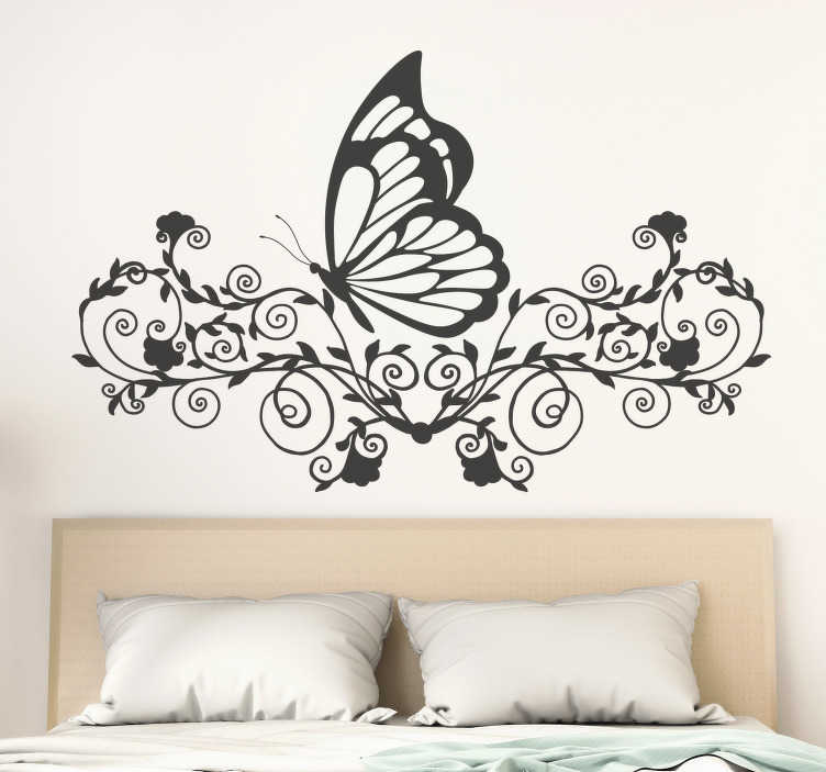 TenStickers. Butterflies and flowers decal. Butterfly wall art sticker for home decoration. It can be used as a bedroom headboard. Available in different colours and size options.