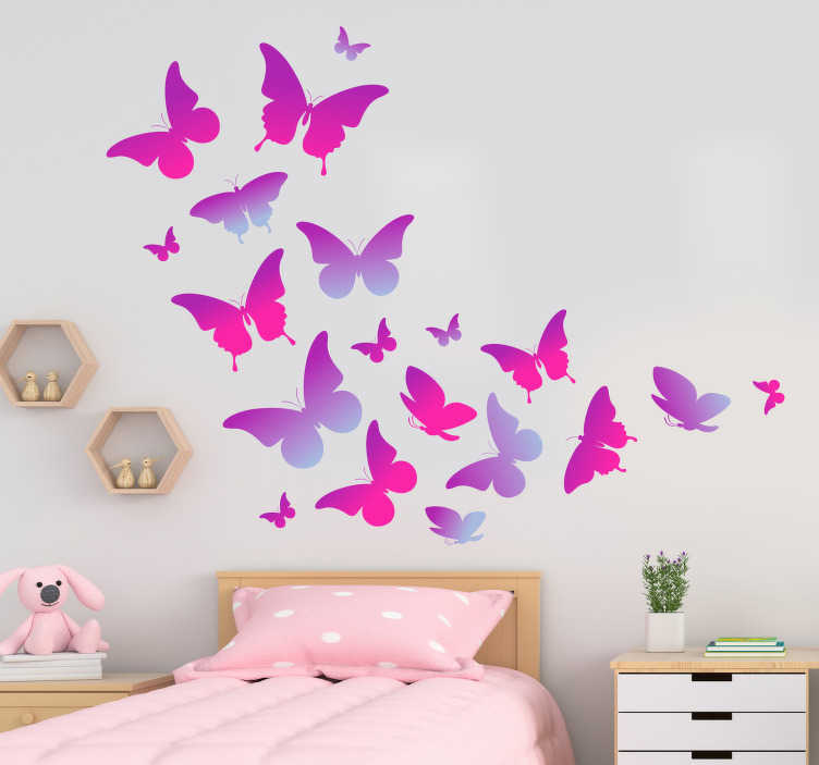 TenStickers. Purple butterflies flying butterfly wall sticker. Colorful butterfly wall art sticker to decorate the home space. An ideal children's room decoration. Available in any required size.