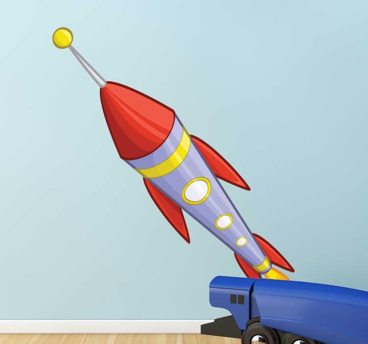TenStickers. Naklejka dla dzieci kolorowa rakieta. Naklejka dekoracyjna na ścianę przedstawiająca kolorową rakietę kosmiczną z pewnością ożywi pokój każdego dziecka.