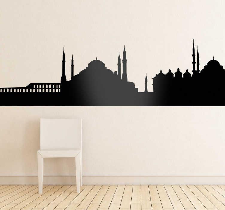TenVinilo. Vinilo decorativo silueta Estambul. Adhesivo con el perfil de esta bonita ciudad mitad europea, mitad asiática. Estambul, la ciudad más grande de Turquía y una de las más hermosas del mundo en tu dormitorio.