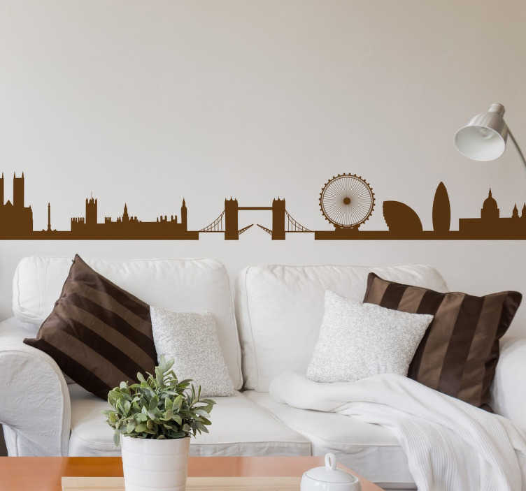 TenStickers. 런던 스카이 라인 벽 스티커. 런던 벽 스티커의 스카이 라인 - 모두가 잉글랜드와 영국의 유명한 수도를 사랑합니다! 귀하의 가정에 장식용 런던 데칼을 붙이십시오.