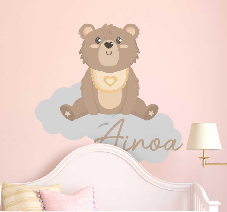 TenStickers. Name bear and clouds wild animal sticker. An illustrative bear with name wall sticker for the decoration of children's room. Customize the design in any name of choice.