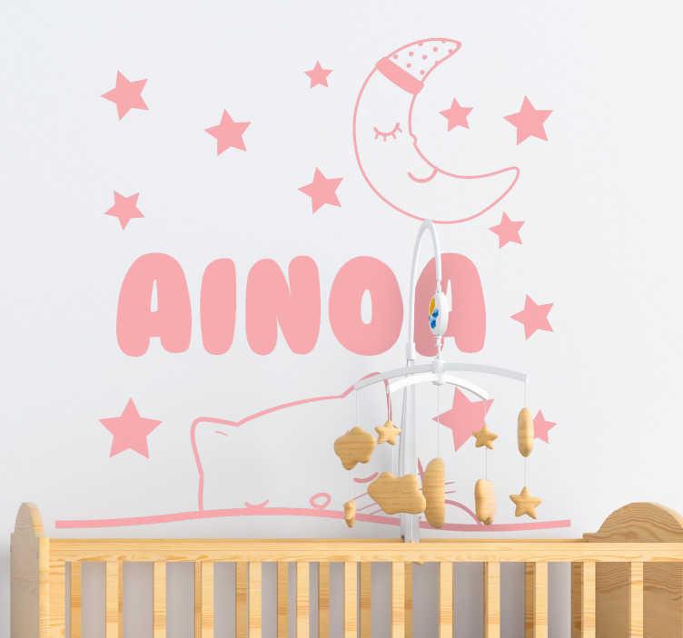 Tenstickers. Muokattava nimi kissan ja kuun seinällä. Muokattava koristeellinen kodiseinätarra lapsille, suunniteltu kissalle ja tähdelle. Toimita suunnitteluun tarvittava teksti.