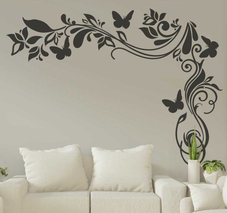 TenStickers. 花蝴蝶蝴蝶花墙贴花. 装饰观赏花卉墙艺术贴纸的卧室和客厅。提供不同的颜色和尺寸。容易申请。