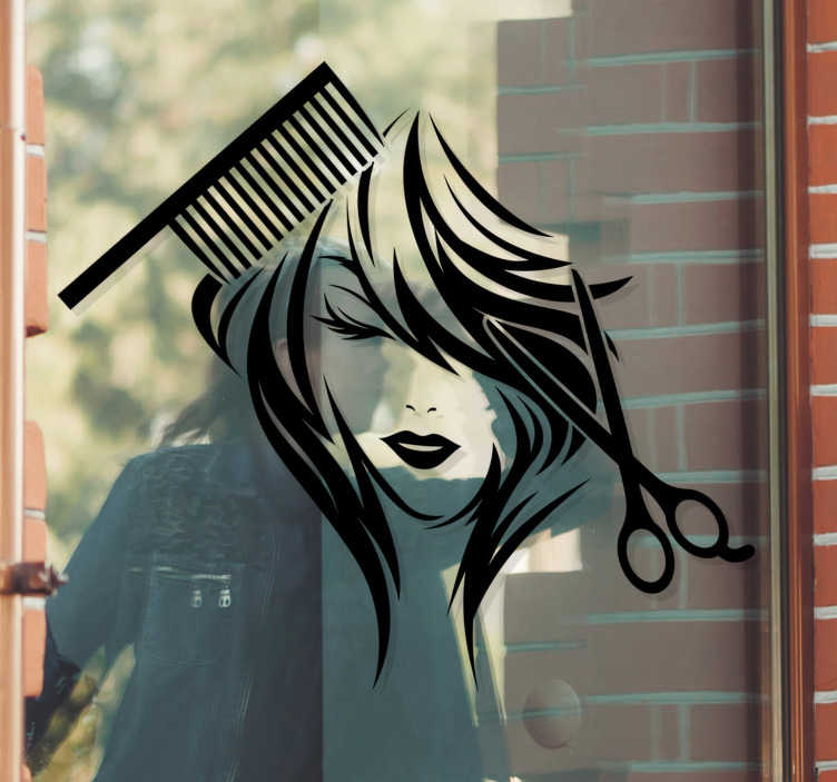 TenStickers. Beauty salon scissors and comb window decal. Decorative beauty saloon window sticker with the design of a woman's face with comb and scissors. Available in different colours and size.
