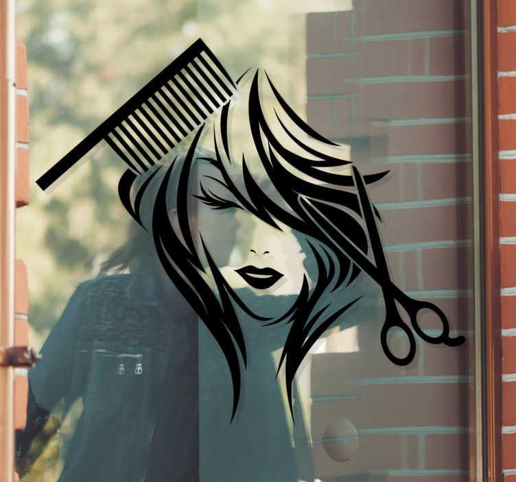 TenStickers. Foarfece pentru salon de înfrumusețare și decalaj fereastră. Autocolant decorativ pentru fereastra berlinei cu designul feței unei femei cu pieptene și foarfece. Disponibil în diferite culori și dimensiuni.