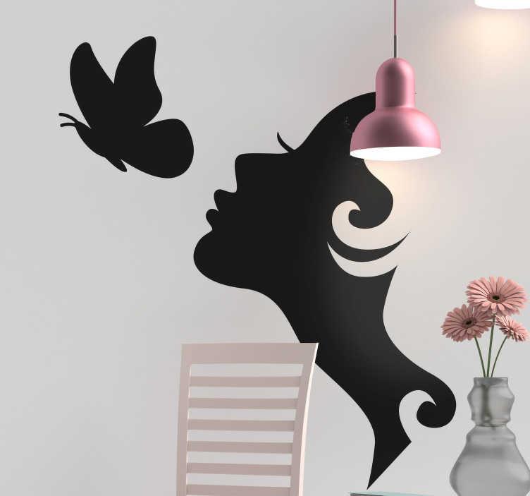 TenStickers. Lepotni salon ženska z dekorjem stenskih metuljev. Okrasna nalepka za lepotni salon poslovna stena z obliko ženskega obraza z metuljem. Na voljo v različnih barvah in velikostih.