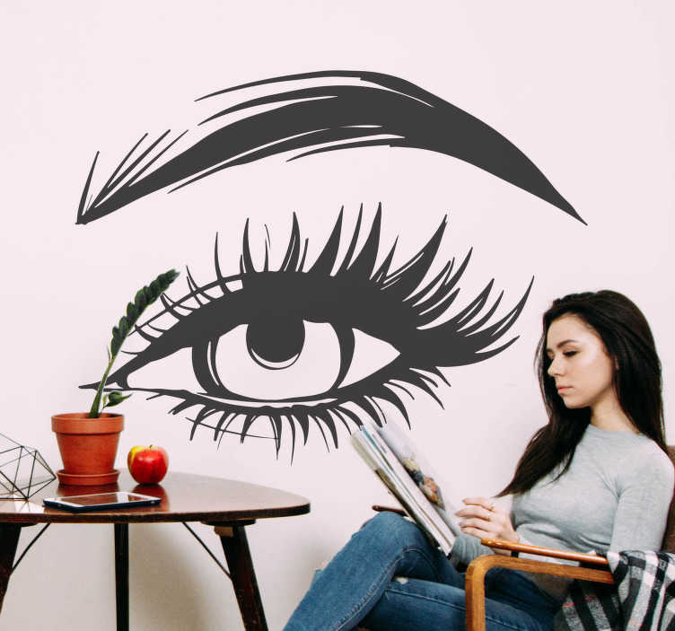 TENSTICKERS. ビューティーサロン女性の目壁デカール. 美しいまつげと眉の女性の目で美学とファッションの壁のステッカー。家庭やサロンの美容室に最適です。簡単に適用できます。