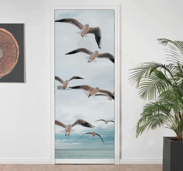 TenStickers. Polish seaside and seagulls glass door sticker. Decorative seaside and seagulls door sticker to decorate any door surface. It is easy to apply and available in any size required.