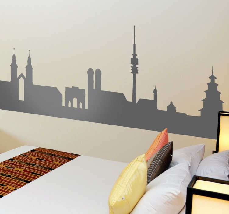 TenStickers. Munich Silhouette Wall Sticker. Wall Stickers - Silhouette design of the Munich skyline. Ideal for those who love the German city and its monuments. Available in 50 colours.