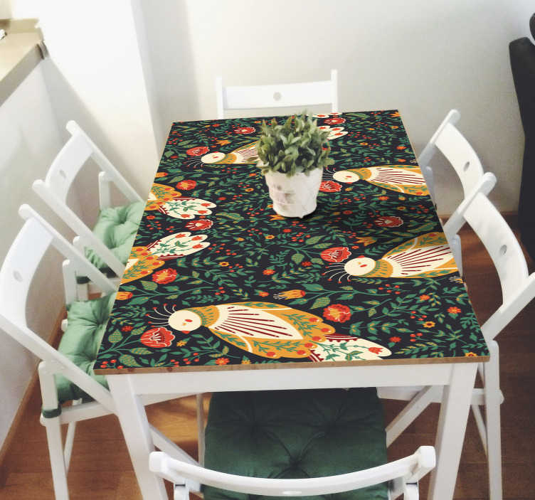 TenStickers. Polish folklore furniture decal. Original furniture vinyl decal to wrap the tables and drawers in the home. It is designed in prints  of ornamental flowers and fish.