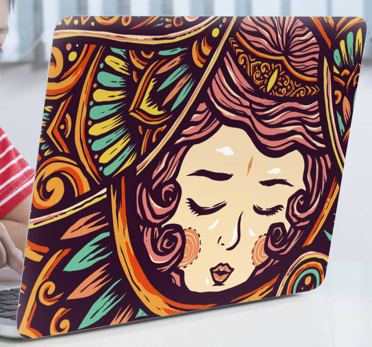 TenStickers. Drawing of a woman laptop skin decal. A tribal drawing of a woman laptop sticker. A lovely decoration for laptop and it is available in any size to wrap a laptop.