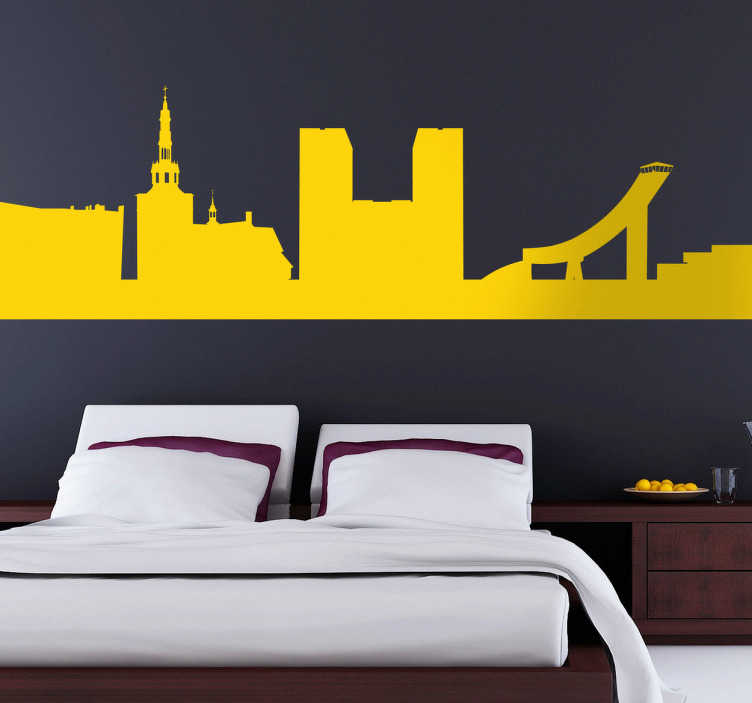 TenStickers. Oslo Silhouette Wall Sticker. Wall Stickers -Silhouette design of city skyline of Oslo. Ideal for those who love the Norwegian city and its monuments.
