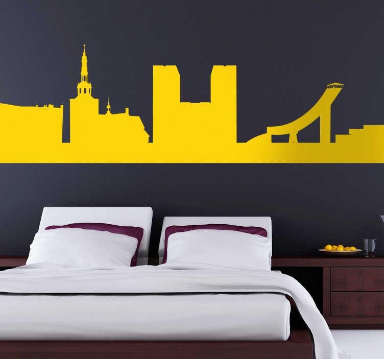 TenStickers. Sticker decorativo silhouette Oslo. Adesivo murale che raffigura la silhouette della capitale norvegese nota per essere il luogo di consegna del Premio Nobel per la Pace. Ideale per decorare il soggiorno o la camera da letto.