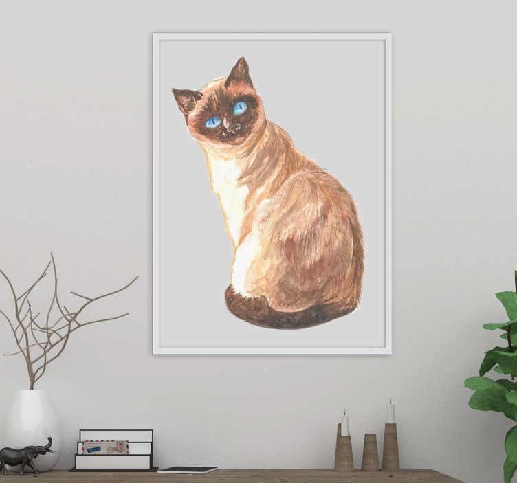 TenStickers. Realistic-cat wall decal. Decorative animal wall stickerwith the design of a big car in visual effect appearance. It is available in any required size.