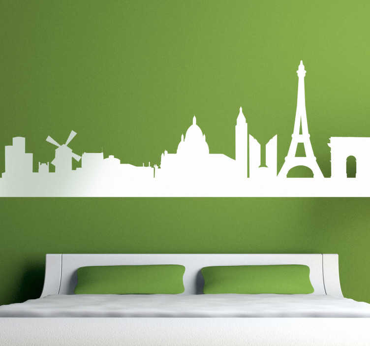 TenStickers. 파리의 스카이 라인 벽 스티커. 파리 벽 스티커 - 프랑스 수도의 놀라운 스카이 라인을 장식하여 거실이나 침실을 낭만적 인 도시로 장식합니다.