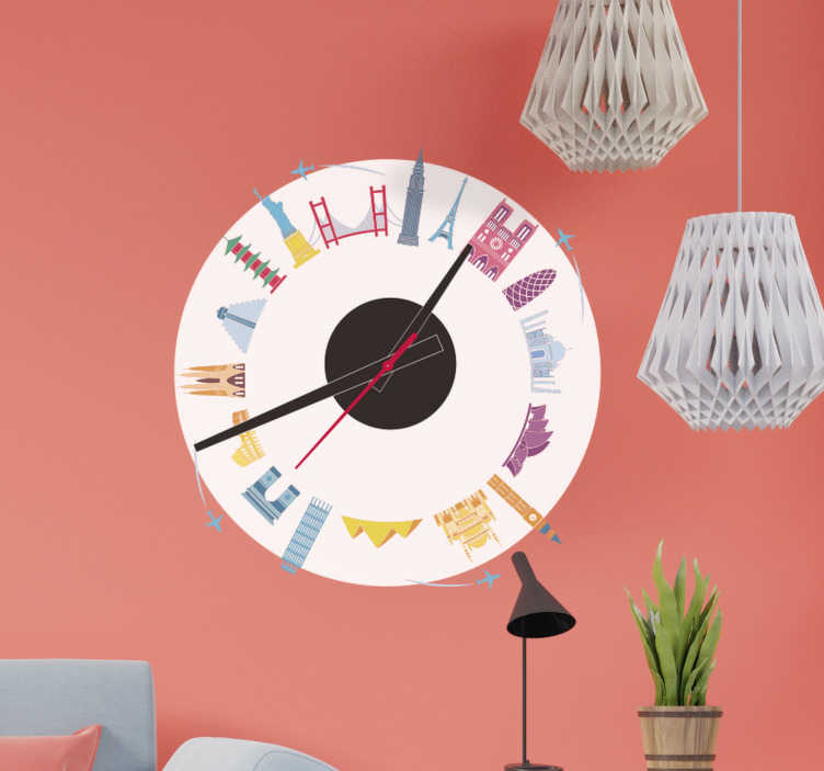 TenStickers. Clock of famous monuments sticker clock. Clock of famous monuments wall clock sticker to decorate any flat wall space in the home. It is easy to apply and adhesive.