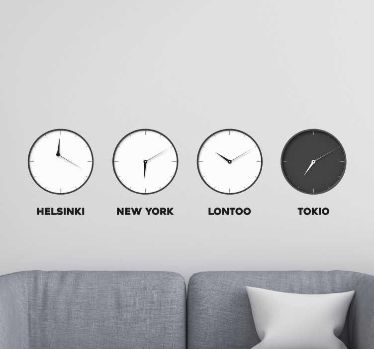 Tenstickers. Helsinki london tokyo new york -seinäkello tarra. Helsinki london tokyo new york -kello tarra koristamaan kodin ja toimistotilaa minkä tahansa kokoisena. Se on helppo levittää ja itseliimautuva.