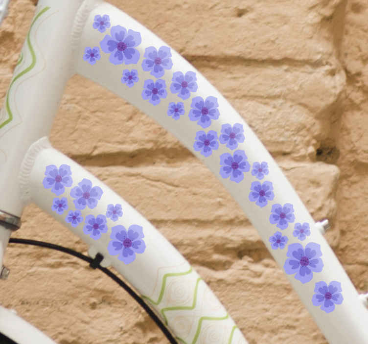 TenStickers. Purple flowers  Bike Decal. Purple flowers bike decal with prints of flowers and it is available in any size needed. Easy to apply and self adhesive.