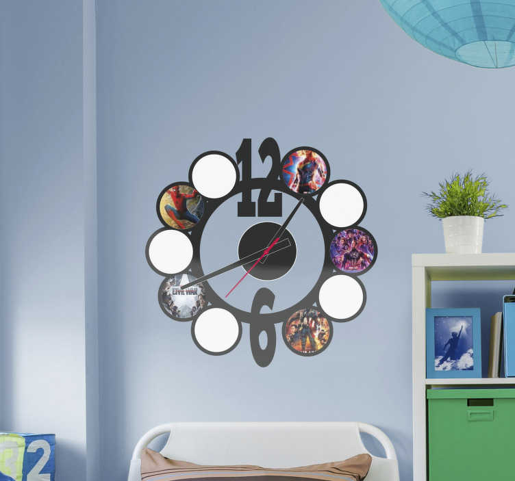 TenStickers. Round clock with images  sticker clock. Decorative clock wall sticker customisable in your image of choice. It is is available in any required dimension. An easy to apply decoration.