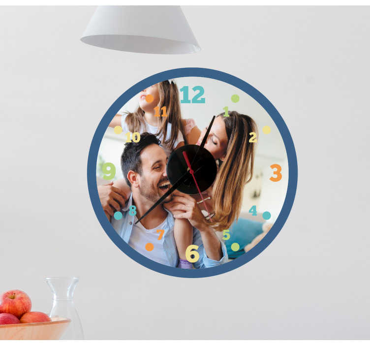 TenStickers. Round clock with photo customisable wall clock sticker. Round clock with photo wall sticker that is customisable in any image of choice. We have it in any required size to decorate the home.