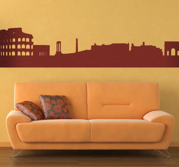 TenVinilo. Vinilo decorativo silueta Roma. Adhesivo con el perfil de la capital italiana. Ciudad con el mayor número de bienes históricos y arquitectónicos del mundo.