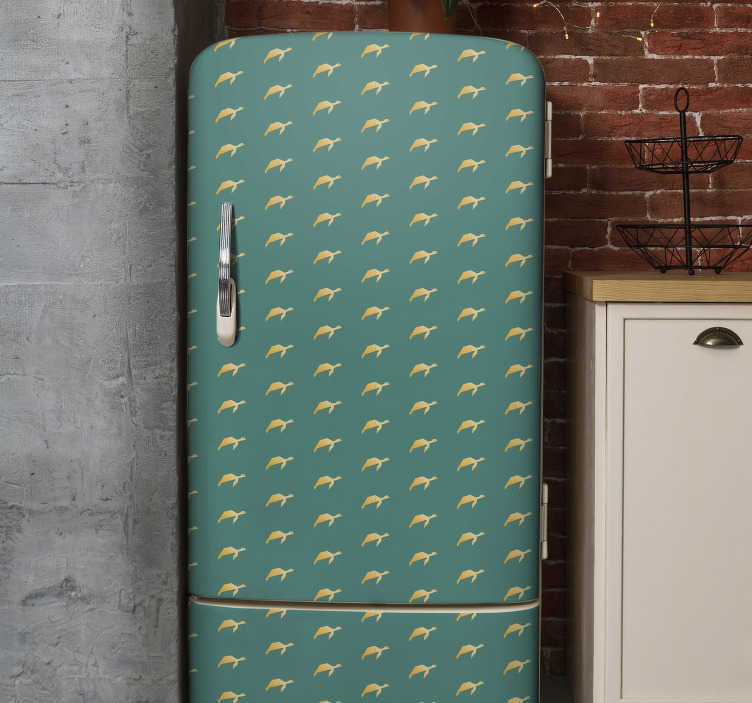 TenStickers. geometric turtle fridge wrap decal. Decorative fridge wrap decal with prints of turtles on colorful background. It is available in any required size. Easy to apply and adhesive.