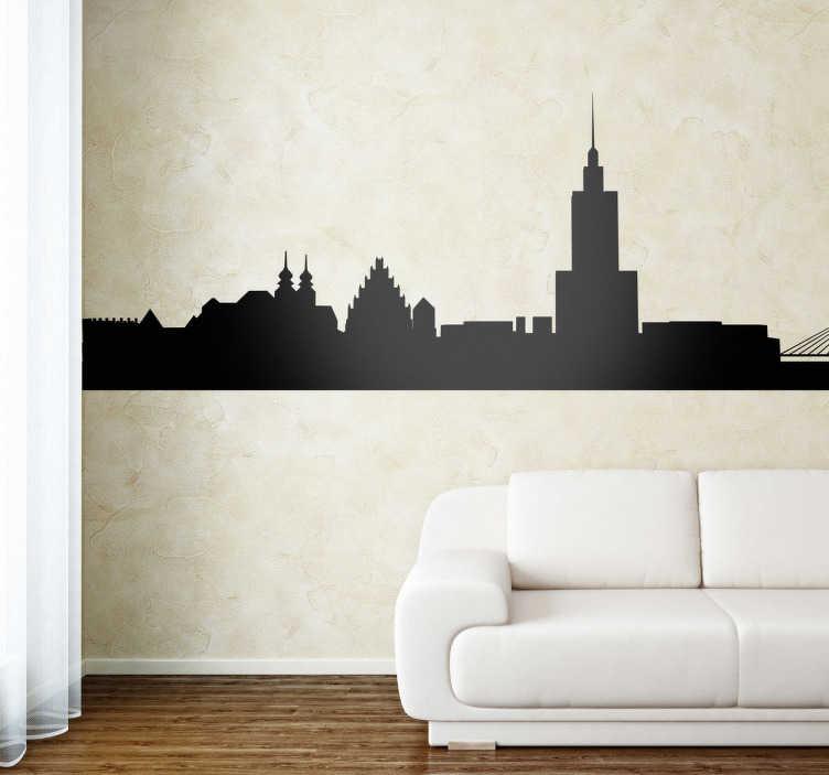 TenStickers. Sticker decorativo silhouette Varsavia. Adesivo murale che raffigura la silhouette della capitale della Polonia, con tutti i suoi monumenti principali in bella vista.