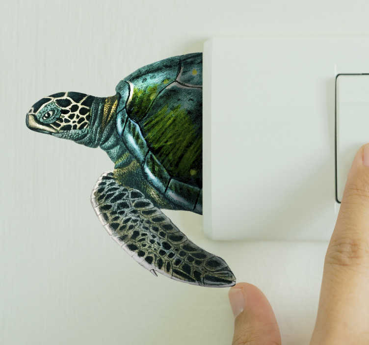 TenStickers. Sea turtle  light switch cover sticker. Adhesive sea turtle decal to decorate light  switch covers in the home. It comes in different sizes and customisable in any required dimension.