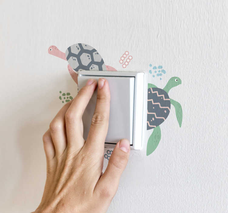 TenStickers. soft color turtles light switch cover sticker. Soft colored light switch decal to decorate the surface of the switch area in the home. It is featured with colour prints if turtles.