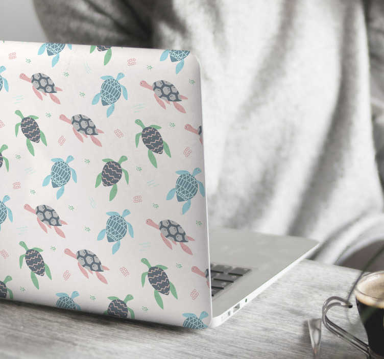 TenStickers. soft color turtles laptop skin. Soft color turtles laptop sticker to decorate a laptop in marine style. It has the colorful prints of turtle and it is available in any size.
