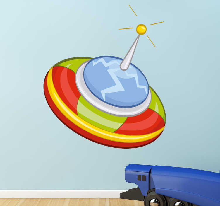 TenStickers. Kids Stickers Circle Spaceship. Wall stickers for kids - spaceship theme decal, playful and colourful design. Decals ideal for decorating rooms and play areas for kids.