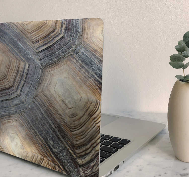 TenStickers. Turtle Shell laptop skin. Decorative turtle shell texture laptop sticker for a laptop. The design is available in any required size and it is easy to apply.