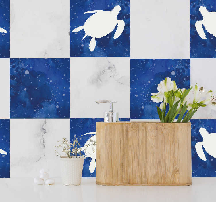TenStickers. Turtle with galaxy pattern tile transfer. An adhesive waterproof tile sticker with the design of turtle and galaxy pattern. A nice kitchen and bathroom decoration.