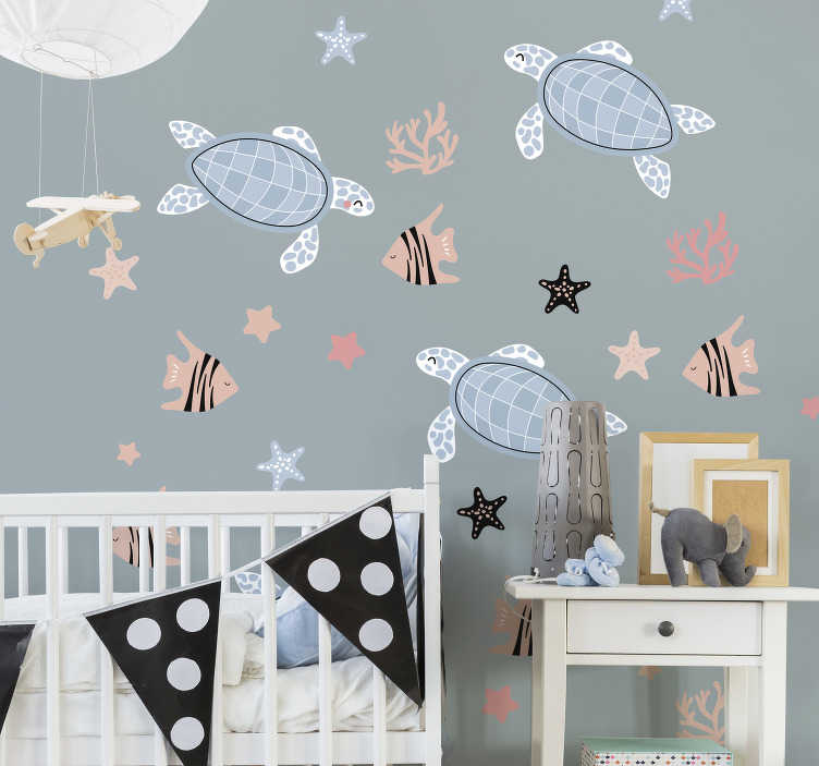 TenStickers. Turtles and fish under Sea animal sticker.  Turtles and fish under Sea animal wall sticker to decorate the bedroom space of children. It is easy to apply and adhesive.