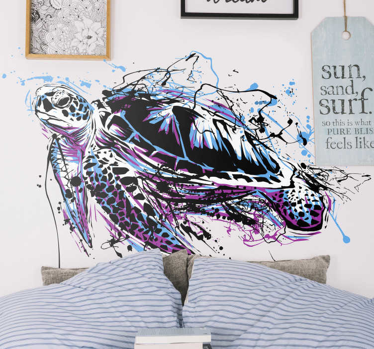TenStickers. Stencil animale tartarughe dipingono arte. Un originale disegno animale adesivo fotomurale astratto di un dipinto di tartaruga in stile arte colorata. Disponibile in qualsiasi dimensione richiesta.