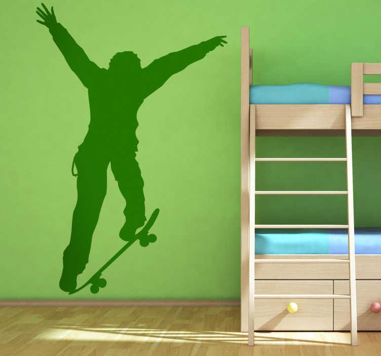 TenVinilo. Vinilo decorativo ilustración vivienda. Adhesivo de un chico practicando skateboard, saltando con su monopatín. Un deporte urbano con el que conseguirás una decoración moderna.
