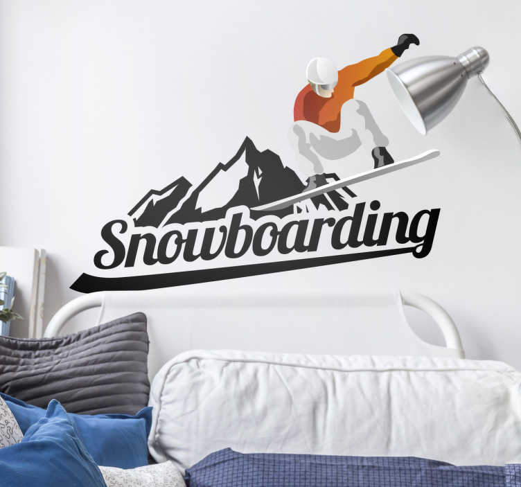TenStickers. Snow Board Wall Sticker. Sports Stickers - Illustration inspired by the winter sports of snow boarding. Youthful and urban design of a snow boarder upside down in the air.