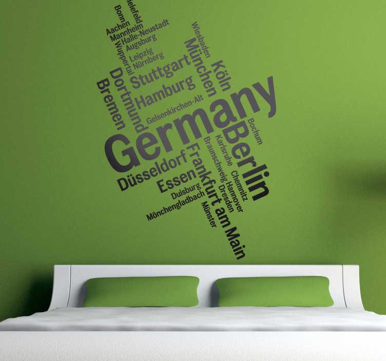 TenStickers. Naklejke dekoracyjna napisy Niemcy. Naklejka dekoracyjna, która przedstawia nazwy miast w Niemczech. Dla wszystkich pasjonatów języka niemieckiego.