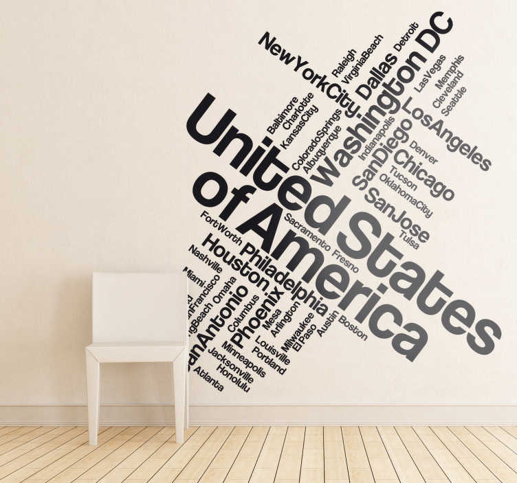 TenStickers. USA Text Wall Sticker. A text decal illustrating the main cities of the United States. Brilliant monochrome sticker for those American lovers to put in the favourite room!
