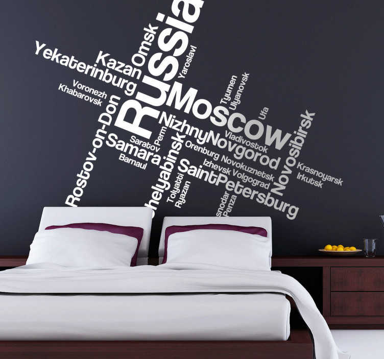TenStickers. Russia Text Montage Decal. Text Decals -  A text montage based on the country of Russia featuring various Russian cities and surrounding areas.