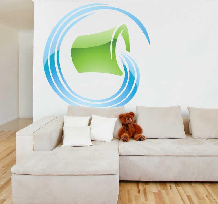 TenStickers. Sticker decorativo zodiaco Acquario. Adesivo murale che raffigura l'undicesimo segno dello zodiaco astrale, l'Acquario, simboleggiato da un secchio d'acqua. Decora con originalità il tuo soggiorno o la tua camera da letto.