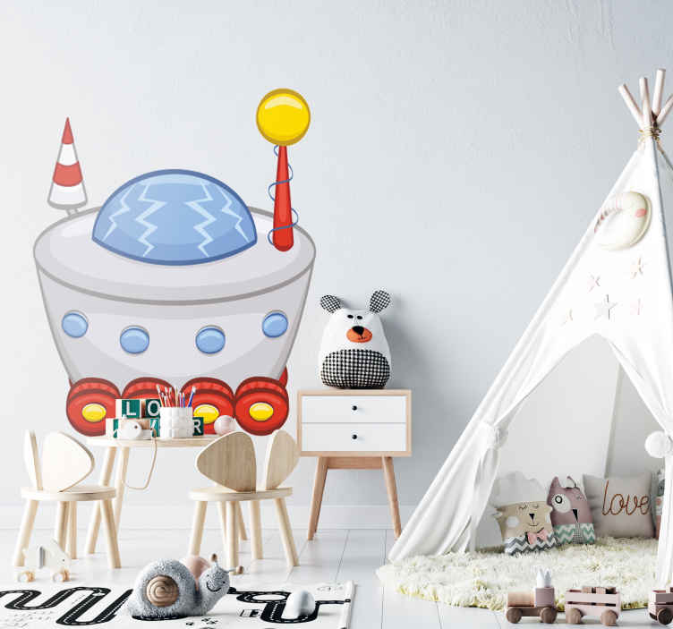 TenStickers. Spacecraft With Wheels Kids Sticker. Kids Wall Stickers - Playful and fun design of a spaceship with wheels. Ideal for decorating areas for children.